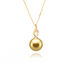 10-11mm AAA Quality South Sea Cultured Pearl Pendant in Darlene Gold