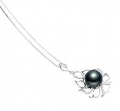 12-13mm AAA Quality Tahitian Cultured Pearl Pendant in Calida Black
