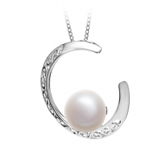 9-10mm AAA Quality Freshwater Cultured Pearl Pendant in Moon White