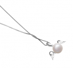 9-10mm AA Quality Freshwater Cultured Pearl Pendant in Angel White