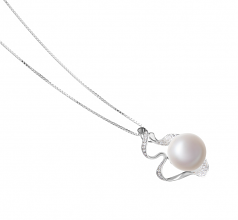 12-13mm AA Quality Freshwater Cultured Pearl Pendant in Oceane White