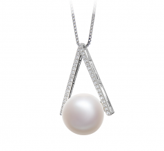 12-13mm AA Quality Freshwater Cultured Pearl Pendant in Triangle White