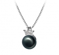 8-9mm AAA Quality Freshwater Cultured Pearl Pendant in Crown Black