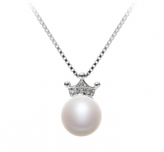 8-9mm AAA Quality Freshwater Cultured Pearl Pendant in Crown White