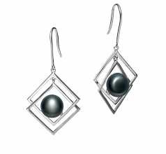 8-9mm AAA Quality Freshwater Cultured Pearl Earring Pair in Lilian Black