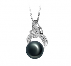 10-11mm AAA Quality Freshwater Cultured Pearl Pendant in Bebra Black