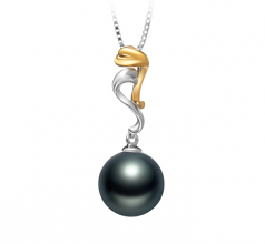 10-11mm AAA Quality Tahitian Cultured Pearl Pendant in Brianna Black