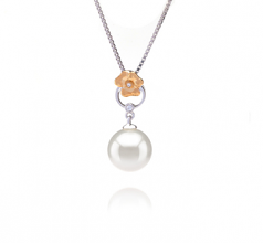 9-10mm AAAA Quality Freshwater Cultured Pearl Pendant in Pamela White