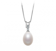 10-11mm AA - Drop Quality Freshwater Cultured Pearl Pendant in Pomona White