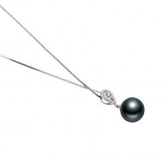 10-11mm AAA Quality Tahitian Cultured Pearl Pendant in Regina Black