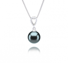 9-10mm AAA Quality Tahitian Cultured Pearl Pendant in Karen Black
