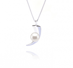 8-9mm AAAA Quality Freshwater Cultured Pearl Pendant in Larina White
