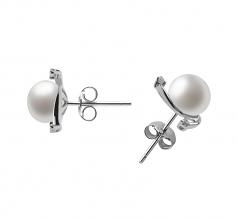 7-8mm AA Quality Freshwater Cultured Pearl Earring Pair in Selene White
