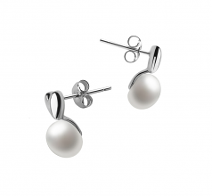 8-9mm AAA Quality Freshwater Cultured Pearl Earring Pair in Heart White
