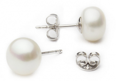 8-8.5mm AA Quality Freshwater Cultured Pearl Earring Pair in White