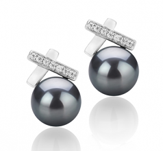 7-8mm AAA Quality Freshwater Cultured Pearl Earring Pair in Klarita Black