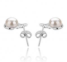 7-8mm AAA Quality Freshwater Cultured Pearl Earring Pair in Bikita White