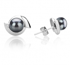 6-7mm AAAA Quality Freshwater Cultured Pearl Earring Pair in Zorina Black