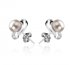 6-7mm AAAA Quality Freshwater Cultured Pearl Earring Pair in Zorina White