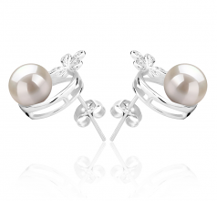7-8mm AAAA Quality Freshwater Cultured Pearl Earring Pair in Molly White