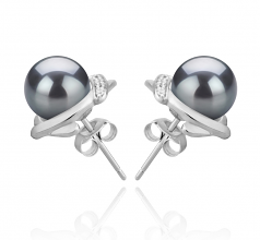 8-9mm AAAA Quality Freshwater Cultured Pearl Earring Pair in Alba Black