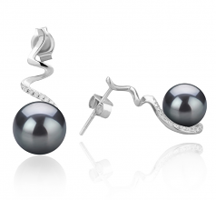 8-9mm AAAA Quality Freshwater Cultured Pearl Earring Pair in Lolita Black