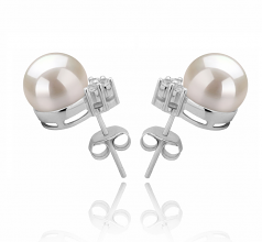 8-9mm AAAA Quality Freshwater Cultured Pearl Earring Pair in Evelyn White