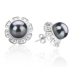 9-10mm AAA Quality Tahitian Cultured Pearl Earring Pair in Leonie Black