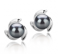 8-9mm AAA Quality Tahitian Cultured Pearl Earring Pair in Eva Black