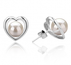 8-9mm AAAA Quality Freshwater Cultured Pearl Earring Pair in Kimberly-Heart White