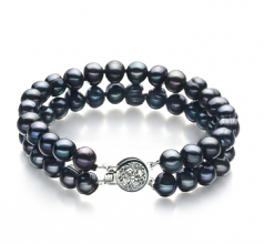 6-7mm A Quality Freshwater Cultured Pearl Bracelet in Lavinia Black