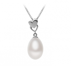 10-11mm AA - Drop Quality Freshwater Cultured Pearl Pendant in Rea White