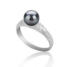6-7mm AAAA Quality Freshwater Cultured Pearl Ring in Cristy Black
