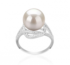 10-11mm AAAA Quality Freshwater Cultured Pearl Ring in Maddie White