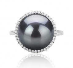 12-13mm AA Quality Tahitian Cultured Pearl Ring in Yanaka Black