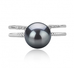8-9mm AAA Quality Japanese Akoya Cultured Pearl Ring in Rahara Black