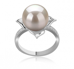 10-11mm AAAA Quality Freshwater Cultured Pearl Ring in Billy White