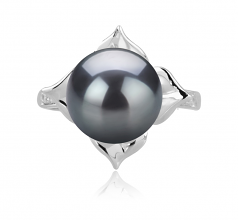 10-11mm AAA Quality Tahitian Cultured Pearl Ring in Billy Black