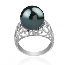 12-13mm AA Quality Tahitian Cultured Pearl Ring in Alva Black