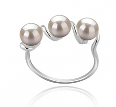 5-6mm AAAA Quality Freshwater Cultured Pearl Ring in Kitty White