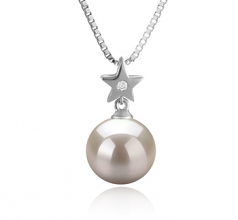 9-10mm AAAA Quality Freshwater Cultured Pearl Pendant in Star White