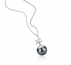 12-13mm AAA Quality Tahitian Cultured Pearl Pendant in Ebony Black