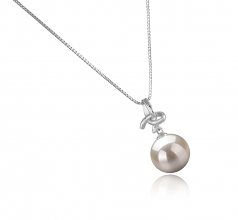 10-11mm AAAA Quality Freshwater Cultured Pearl Pendant in Maude White