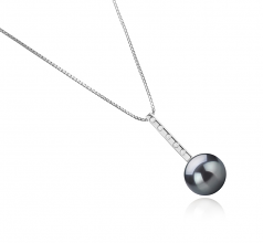 11-12mm AAA Quality Tahitian Cultured Pearl Pendant in Vanna Black