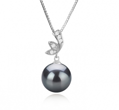 11-12mm AAA Quality Tahitian Cultured Pearl Pendant in Justine Black