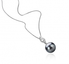 11-12mm AAA Quality Tahitian Cultured Pearl Pendant in Frida Black