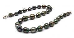 9-12mm Baroque Quality Tahitian Cultured Pearl Necklace in 17-inch Black Crimson