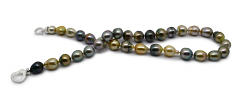 8-10mm Baroque Quality Tahitian Cultured Pearl Necklace in 16-inch Multicolour
