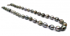8-11mm Baroque Quality Tahitian Cultured Pearl Necklace in 17-inch Multicolour