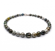 9-12mm Baroque Quality Tahitian Cultured Pearl Necklace in 17-inch Multicolour